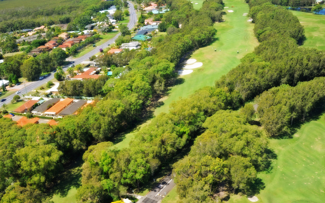 The 7th hole from above