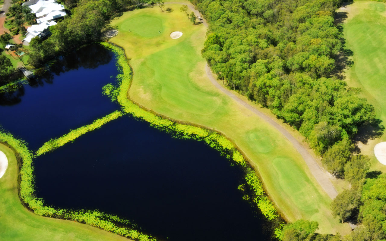 The 15th hole from above