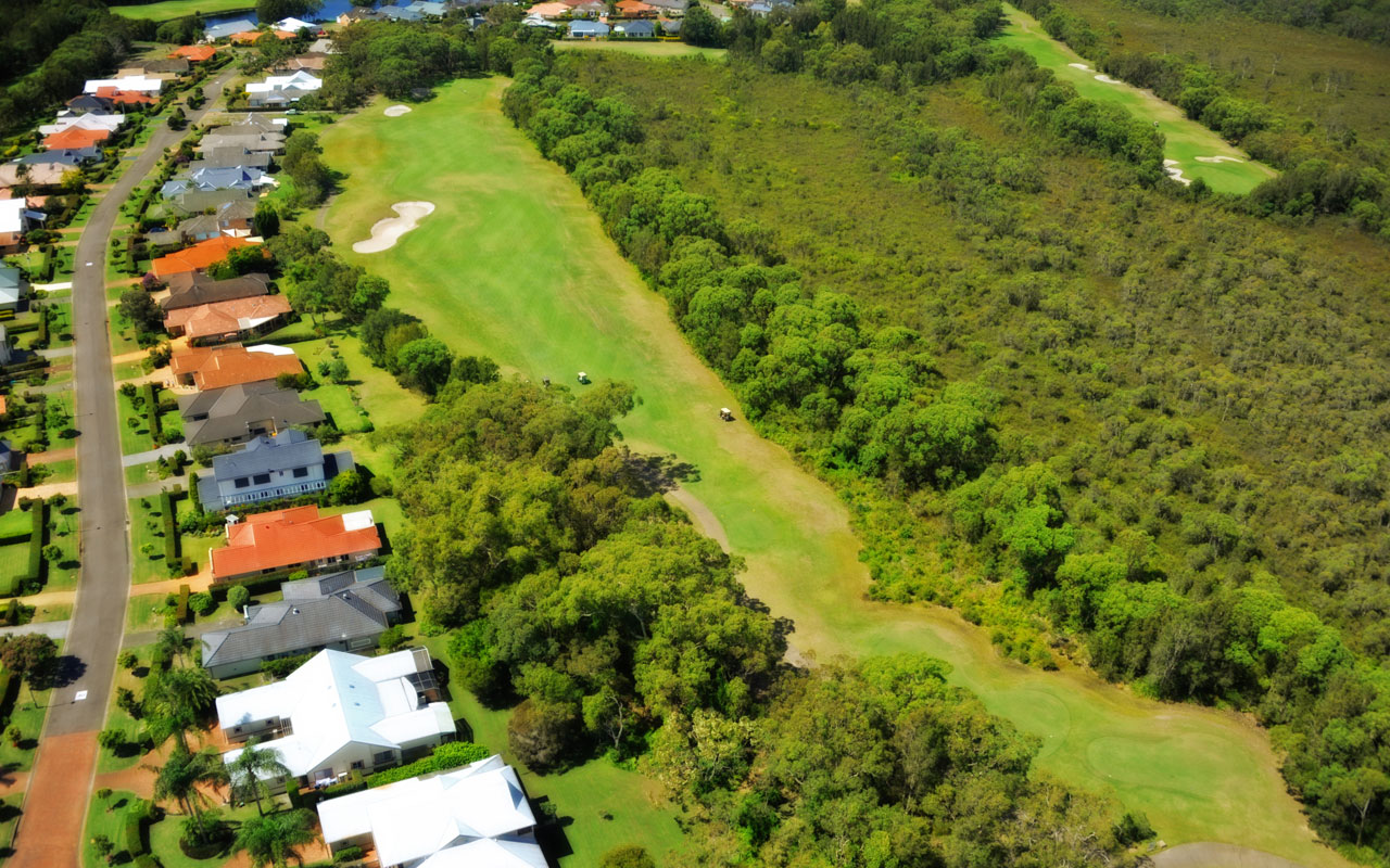 The 16th hole from above