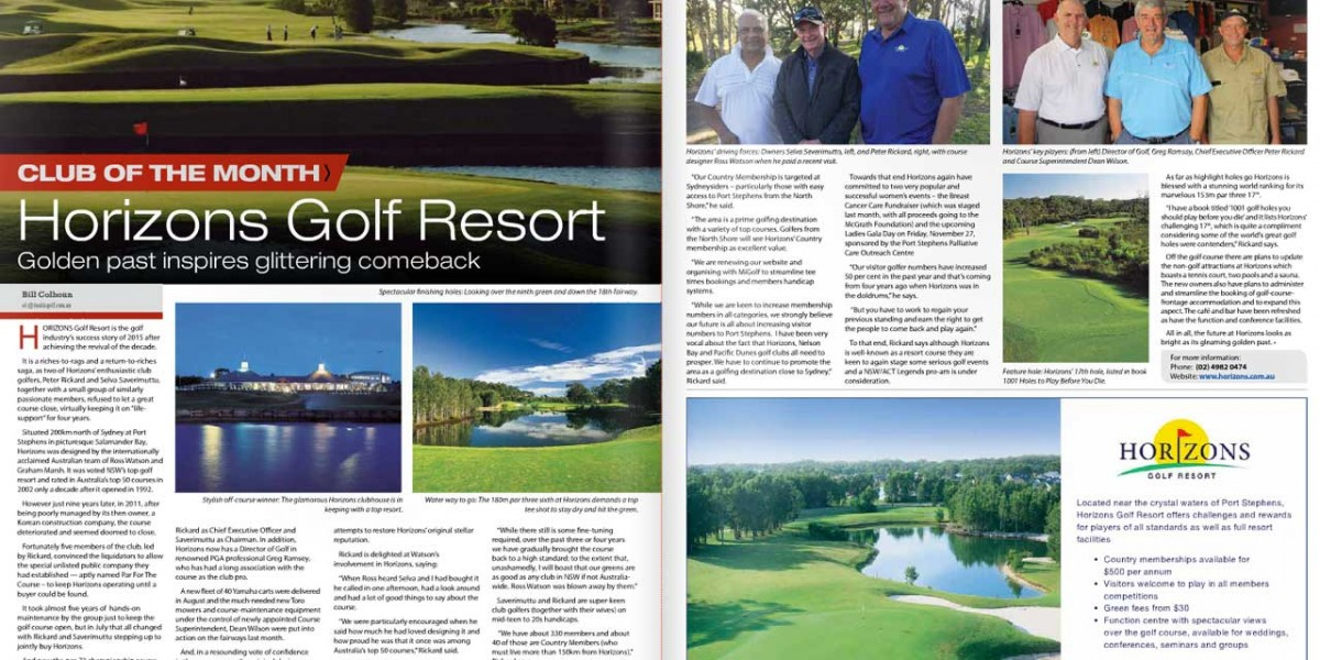 Inside Golf feature article on Horizons Golf Resort