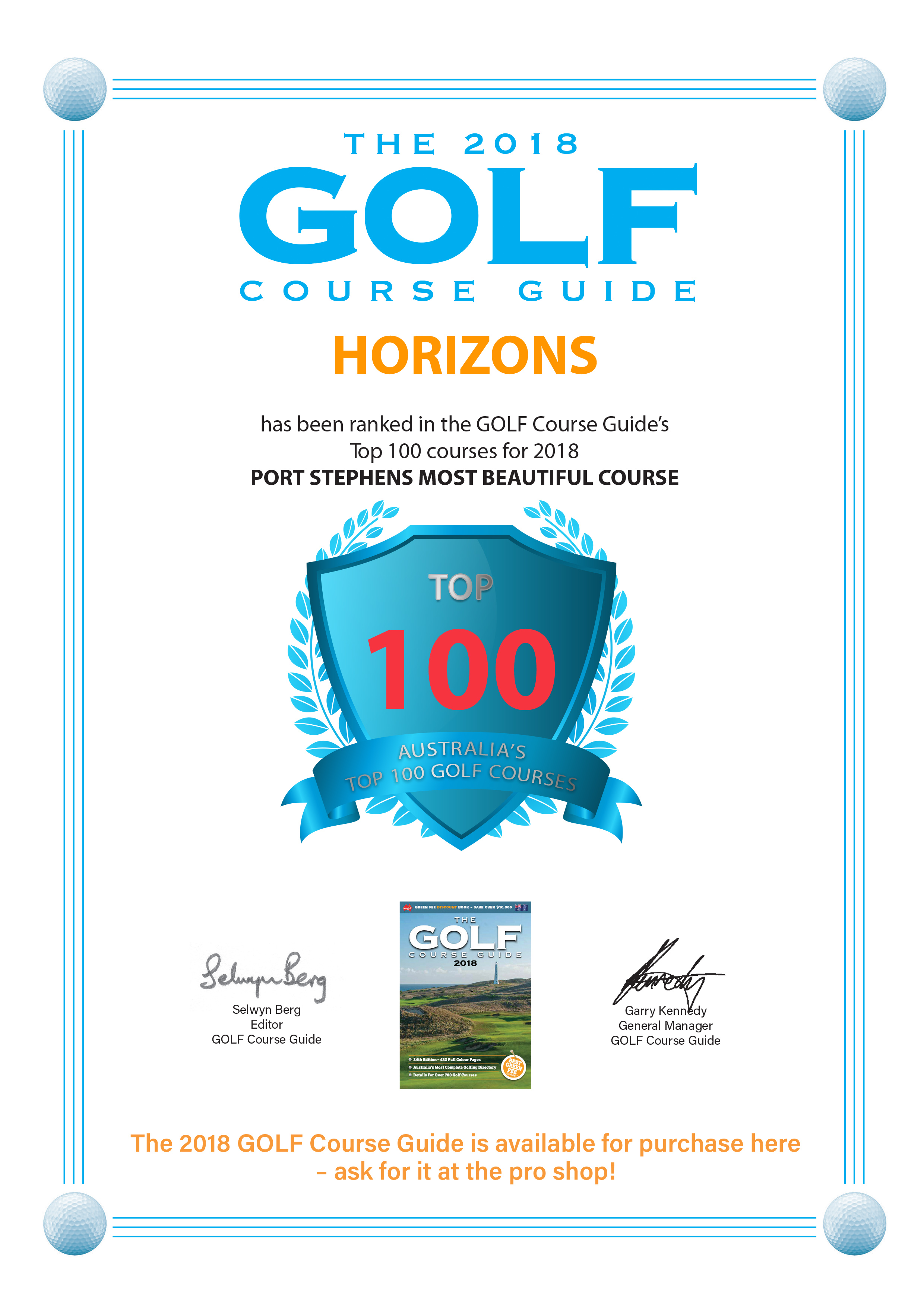 Horizons Top 100 Australian Course 2018 golf course guide